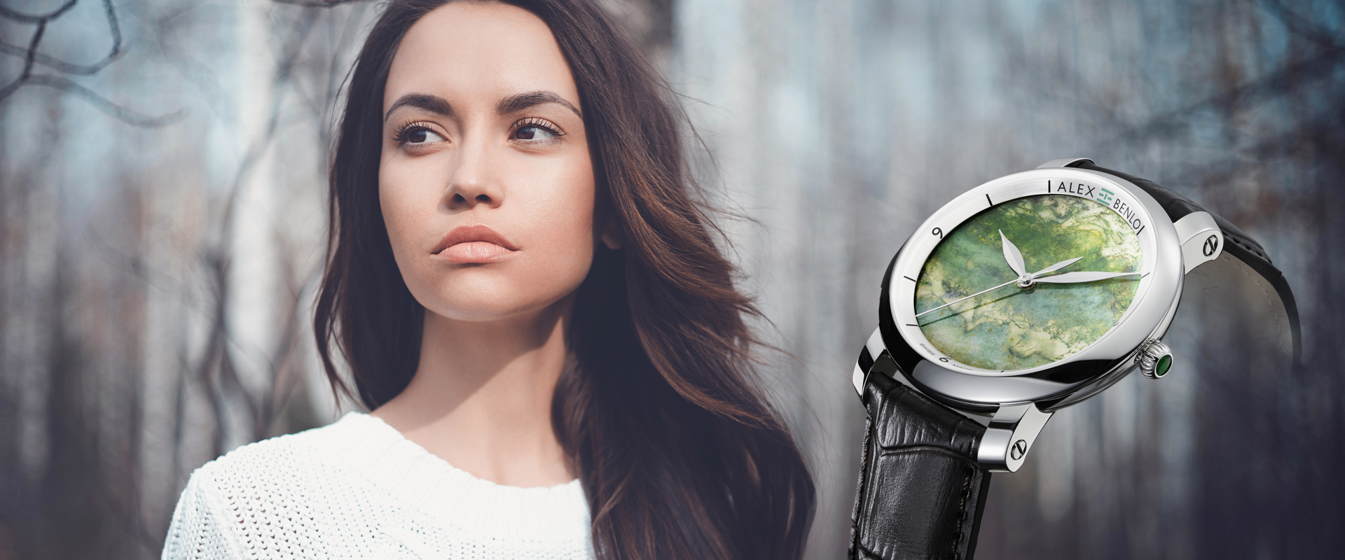 Alex Benlo - Natural Stone Watches - Moss Agate Collection