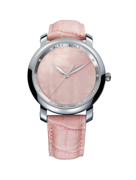 Rose Quartz Gents 12 Diamonds